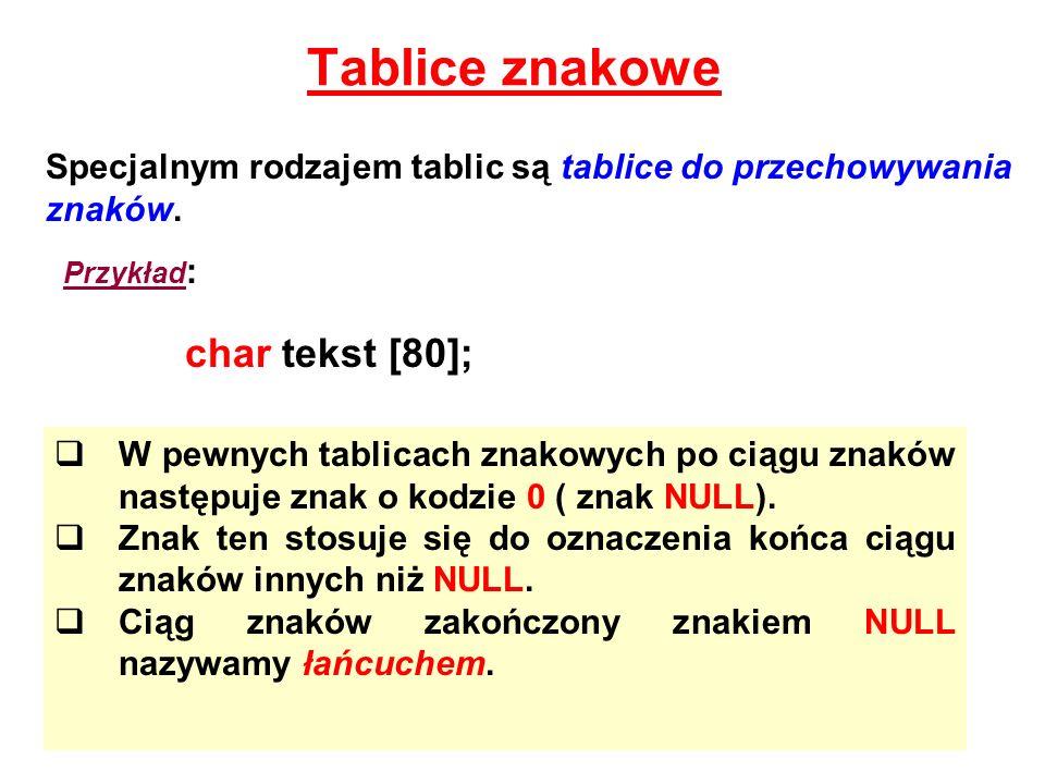 Tablice znakowe char tekst [80];
